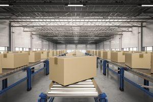 3d rendering carton boxes on conveyor belt